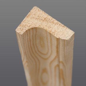 Grenen hoeklat hol 21 x 32 mm