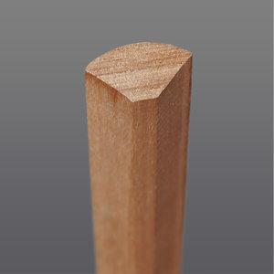 Meranti hoeklat bol kwartrond 18 x 18 mm