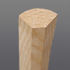 Grenen hoeklat bol kwartrond 20 x 20 mm